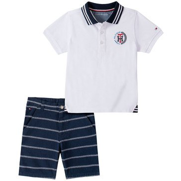 Tommy Hilfiger Baby Boys' Pique Polo Striped & Oxford Shorts Set