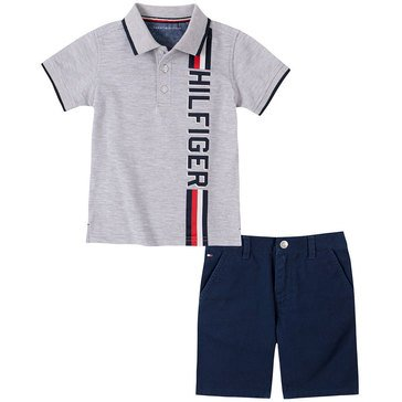 Tommy Hilfiger Baby Boys' Heathered Pique Polo Twill & Shorts Set