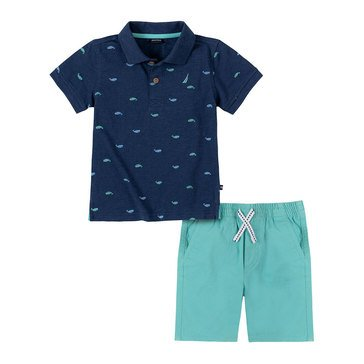 Nautica Baby Boys' Whale Polo & Shorts Set