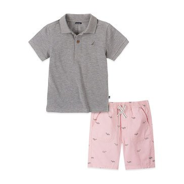 Nautica Baby Boys' Heathered Polo & Shorts Set