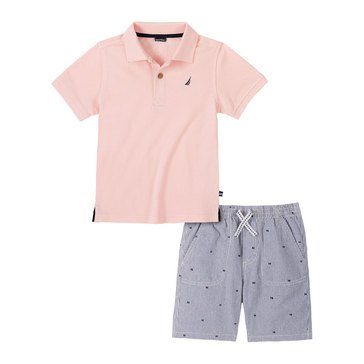 Nautica Baby Boys' Solid Polo & Shorts Set