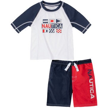 Nautica Baby Boys' Logo Rash Guard Set