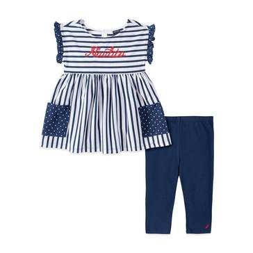 Nautica Baby Girls' Ruffle Striped Tunic & Capri Set