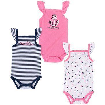 Nautica Baby Girls' Anchor 3-Pack Bodysuit Set