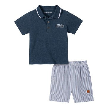 Calvin Klein Baby Boys' Logo Polo & Striped Woven Shorts Set