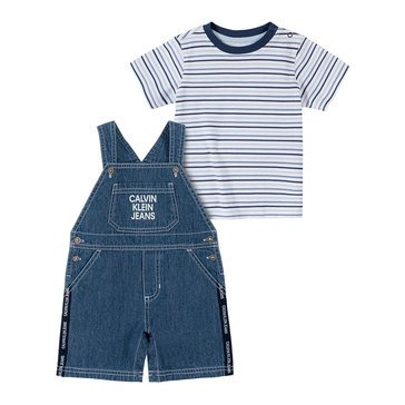Calvin Klein Baby Boys' Striped Tee & Shortall Set