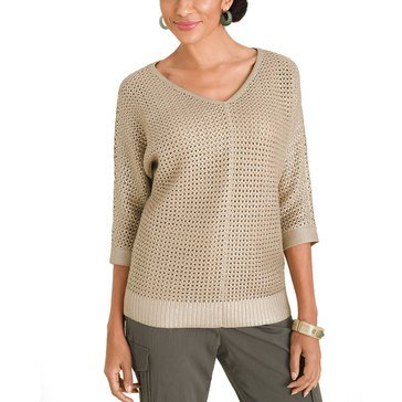 Chicos Women Metallic Open Stitch V-Neck Pullover