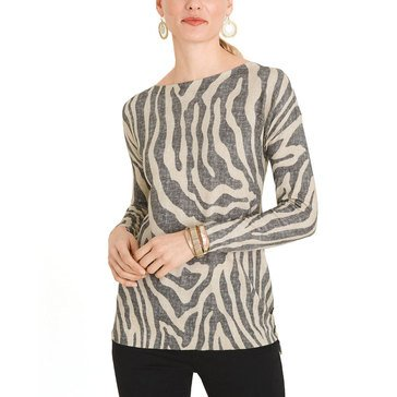 Chicos Womens Zebra Print Side Button Tunic