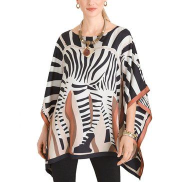 Chicos Feb Silk Zebra Print Poncho