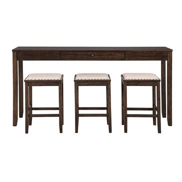 Signature Design by Ashley Rokane Rectangular Dining Room Counter Table, 4-Piece Set