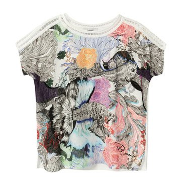 Desigual Women's Japanese Embossed and Crochet T-shirt