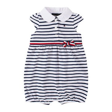 Tommy Hilfiger Baby Girls' Ruffle Cap Sleeve Striped Romper