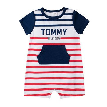 Tommy Hilfiger Baby Boys' Kangaroo Pouch Striped Romper