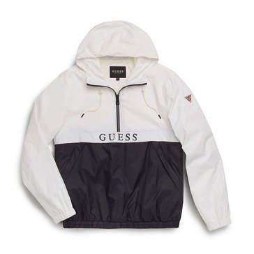 Guess Mens Light Weight Half Zip Hooded Jacket