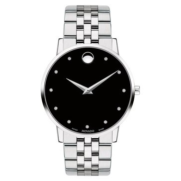 Movado Men's Swiss Museum Classic Diamond-Accent Stainless Steel Bracelet Watch