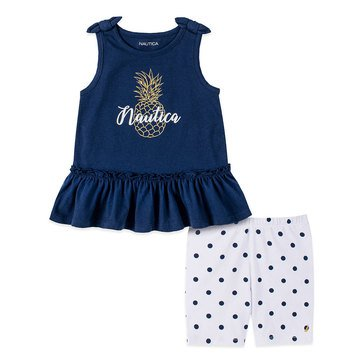 Nautica Baby Girls' Pineapple & Bike Shorts Set