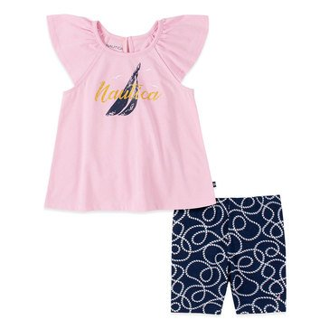Nautica Baby Girls' Flutter Sleeve Anchor & Bike Shorts Set