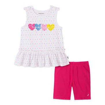 Nautica Baby Girls' Sleeveless Heart Peplum & Bike Shorts Set