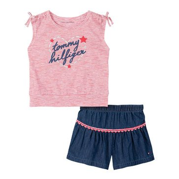 Tommy Hilfiger Baby Girls' Sleeveless Striped Jersey & Flare Shorts Set
