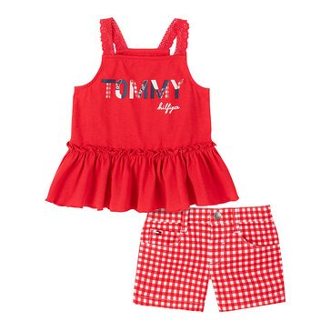 Tommy Hilfiger Baby Girls' Sleeveless Peplum Tank Gingham & Shorts Set