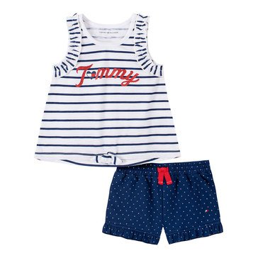 Tommy Hilfiger Baby Girls' Tie Front Tank Polka Dot Print Knit Short Set