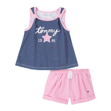 Tommy Hilfiger Baby Girls' Stripe Tank Top Solid Knit Short Set
