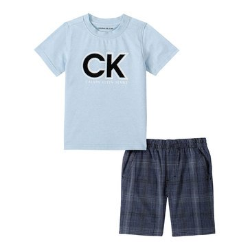 Calvin Klein Baby Boys' Short Sleeve Logo Tee/Yarn Dyed Plaid Short Set