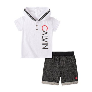 Calvin Klein Baby Boys' Hooded Short Sleeve Tee/French Terry Short Set