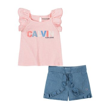 Calvin Klein Baby Girl Ruffled Tank/Denim Skort Set