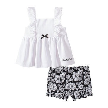 Calvin Klein Baby Girl Eyelit Trimmed Short Sleeve Top/Floral Print Poplin Short Set