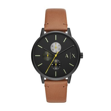 Armani Exchange Cayde Men's Leather Strap Watch