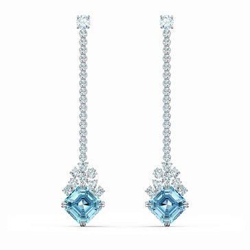 Swarovksi Sparkling Rhodium and Aqua Linear Earrings