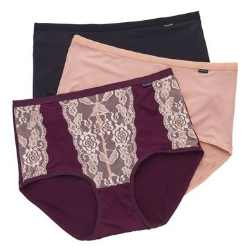 Tahari 3-Pack Microfiber & Lace High-Waisted Briefs