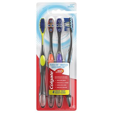 Colgate 360 Advance Floss Tip Toothbrush 4pk