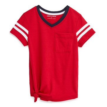 Liberty & Valor Little Girls' Side Tie Print Tee