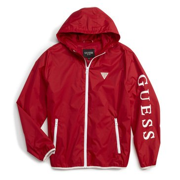 Guess Men's Light Weight Full Zip Hooded Jacket