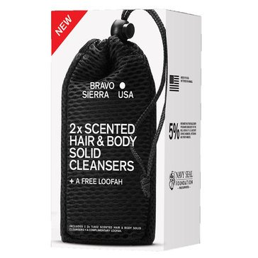 Bravo Sierra Hair and Body Solid Cleanser 2ct w/ Loofah