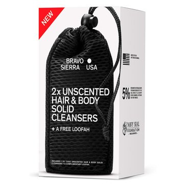 Bravo Sierra Hair and Body Solid Cleanser Unscented 2ct w/ Loofah