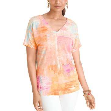 Chico's Women's Painted Stripes V-neck Tee
