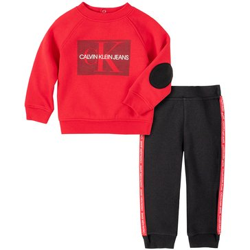 Calvin Klein Baby Boy Long Sleeve Elbow Patch Crew Neck Pullover With Jogger Set