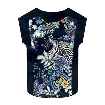 Desigual Women's Short Sailor Floral and Animal Tee