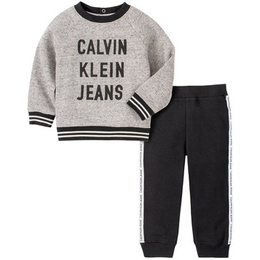 Calvin Klein Baby Boy Long Sleeve Marled Crew Neck Pullover With Jogger Set