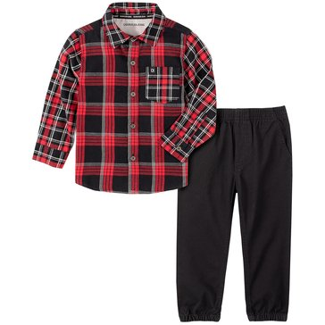 Calvin Klein Baby Boy Long Sleeve Plaid Woven Shirt And Twill Jogger Set