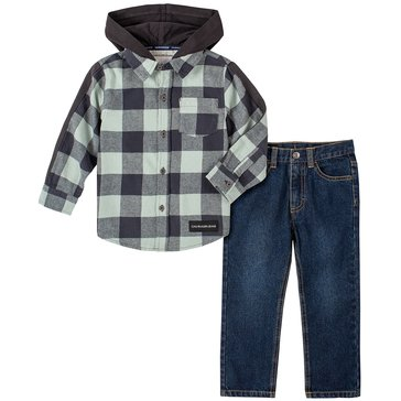 Calvin Klein Baby Boy Long Sleeve Plaid Woven Hooded Shirt And Jeans Set