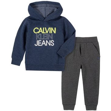 Calvin Klein Baby Boy Long Sleeve Marled Pullover Hoody And Jogger Set