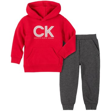 Calvin Klein Baby Boy Long Sleeve Solid Pullover Hoody And Jogger Set