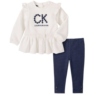 Calvin Klein Baby Girl Long Sleeve Ruffle Shoulder Diamond Double Knit Tunic With Faux Denim Legging