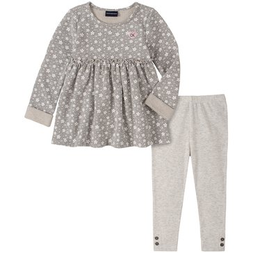 Calvin Klein Baby Girl Long Sleeve Flower Print Baby Doll Top With Rib Knit Legging Set