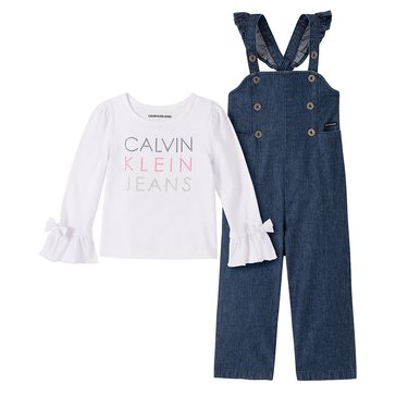 Calvin Klein Baby Girl Long Sleeve Solid Top With Baby Denim Jumpsuit Set