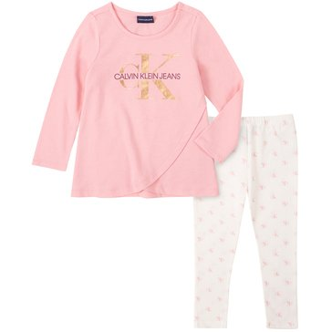 Calvin Klein Baby Girl Long Sleeve Tulip Front Tunic With Ck Print Legging Set